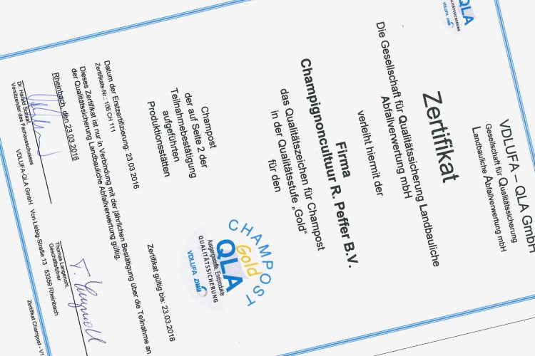 QLA Gold certificaat voor Champignoncultuur R. Peffer B.V.